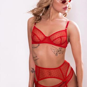 Комплект белья из сетки. Красное соблазнительное белье в горошек - Easy Erotic