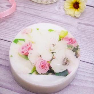 """Мило """"Квіти на водорозчинному папері"""" у формі кола"""