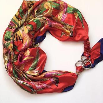 """"""" Яркая вспышка""""  атласный шарф, платок, шарф-колье, шарф-чокер, шейный платок"""