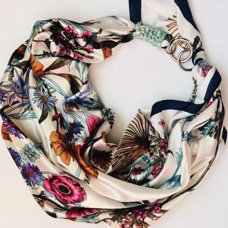 """""""Полевые цветы"""" атласный  шарф, платок, шарф-колье, шарф-чокер, шейный платок"""