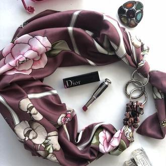 """Французский шик"" Атласный шарф, платок, шарф-колье, шарф-чокер, шейный платок"