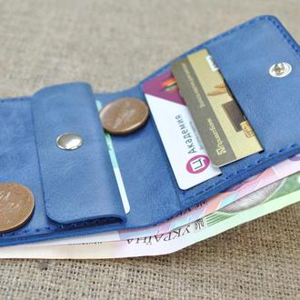 Кожаный кошелек K92-синий