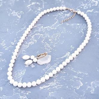 Комплект з натуральних перлів у позолоті намисто та сережки бусы из жемчуга серьги свадебные