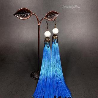 Длинные серьги-кисти Голубые