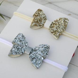 Повязка c бантиками-бабочками для девочки в подарок, Заколки для малышки