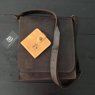 Кожаная мужская сумка на плечо, Коричневая кроссбоди