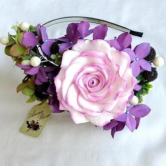 Обруч с цветами для волос «Гортензия и Роза»