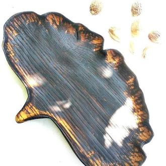 Блюдце із дуба, посуд із дерева, дерев'яна тарілка