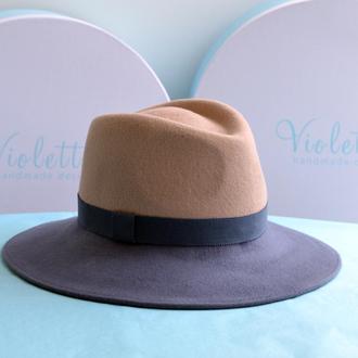 Двухцветная фетровая шляпа Манхэттен с французской лентой