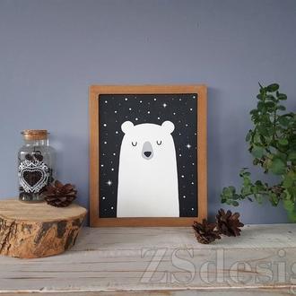 """Картина """"Sleeping bear"""" - Настенный декор в детскую"""
