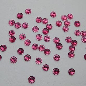Стразы тисненные круглые d=8 мм, цвет пурпурный