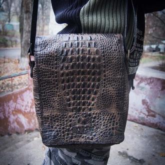 Кожаная мужская сумка, сумка через плечо, сумка а5 формата, мужская сумка
