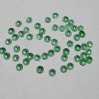 Стразы тисненные круглые d=8 мм, цвет зеленый