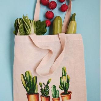Экосумка для овощей и фруктов, шоппер кактус, екосумка, эко-сумка кактус киев, авоська киев