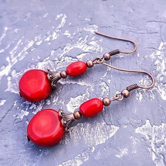 """Сережки з натуральних коралів """"Цукерочки"""" серьги из коралла красные сережки коралловые"""