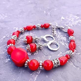 Комплект из натуралнього коралла браслет ао серебряные серьги браслет и серьги из красного коралла
