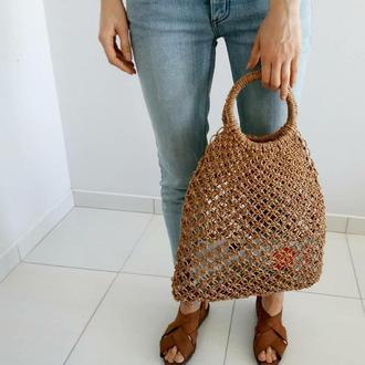Плетеная сумка, форма авоська, бежевая