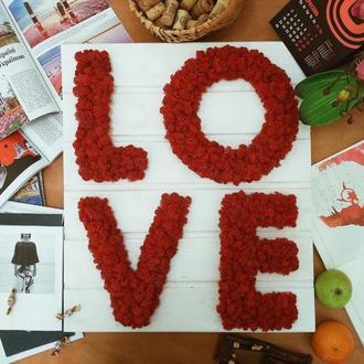Картина LOVE из стабилизированного мха на деревянной основе
