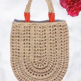 Сумка шоппер плетеная из джута