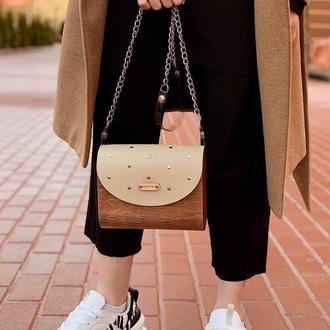 Бежевая деревянная сумочка FIGLIMON
