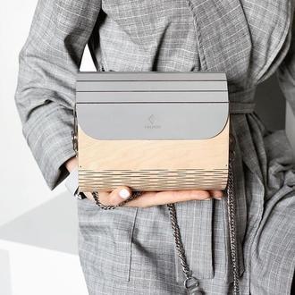 Відмінний подарунок на Новий Рік! Жіноча дерев'яна сумочка FIGLIMON