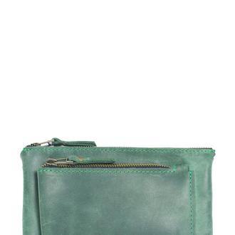 Кожаный кошелек на молниях. 08016/зеленый