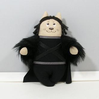 Кот Джон Сноу серия Игра престолов Авторская игрушка черный кот декор Винтерфелл Старки