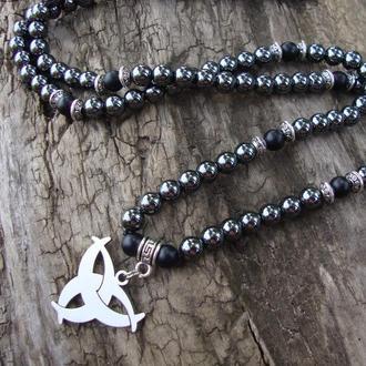 Мужское ожерелье из гематита