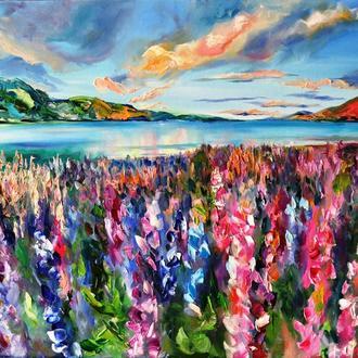"""Картина маслом """"Мрії літа"""", краєвид живопис, 60х80 см картини квіти"""
