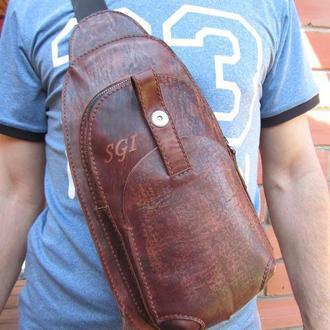кожаная сумка-рюкзак через плечо,мужская кожаная сумка на плечо,подарок мужчине