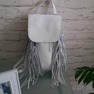 Рюкзак из натуральной кожи с бахромой