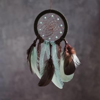 Небольшой ловец снов в детскую. Мятно коричневый ловец снов с кружевом. Ловец снов для малыша.