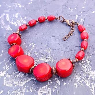 Браслет из натуральных кораллов разных форм браслет из красного коралла