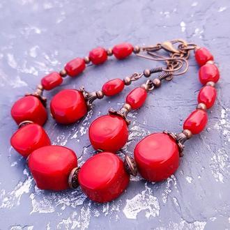 Комплект з натурального коралу браслет та сережки украшения из красного натурального коралла