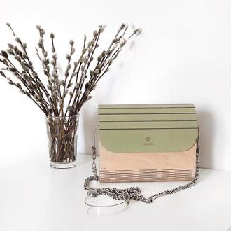Деревянная сумочка FIGLIMON в оливковом оттенке