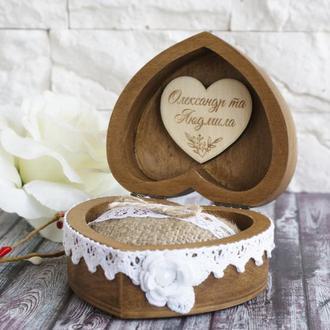 Шкатулка для обручальных колец в форме сердца