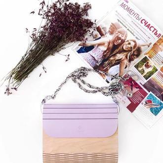 Деревянная женская сумочка FIGLIMON в лиловом оттенке