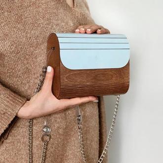 Женская деревянная сумка FIGLIMON в небесно-голубом оттенке