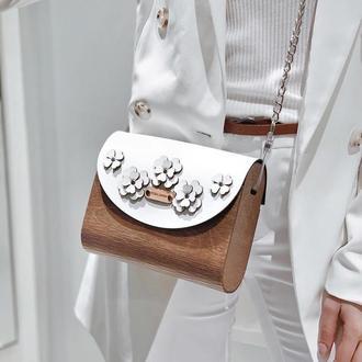 Деревянная сумочка FIGLIMON с белой крышечкой из эко кожи