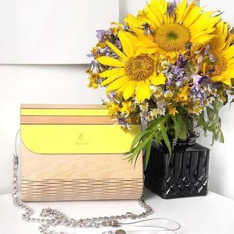 Деревянная сумка FIGLIMON в сочном желтом оттенке