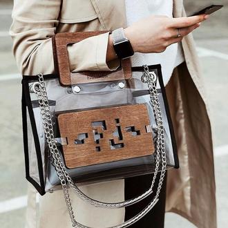 83561bf4a952 Прозрачная женская сумочка FIGLIMON в желтом оттенке ручной работы ...