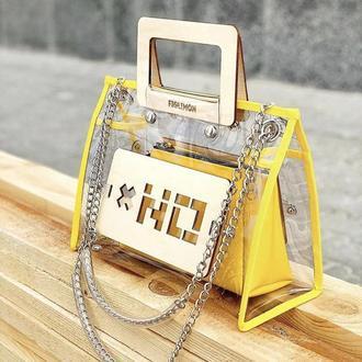 Прозрачная женская сумочка FIGLIMON в желтом оттенке