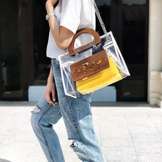 Прозрачная сумка FIGLIMON белая, с желтой косметичкой