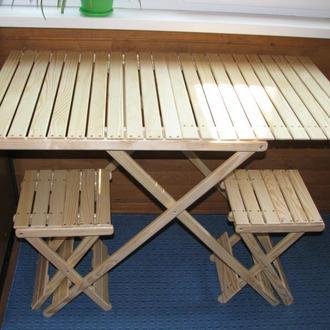Туристический деревянный комплект из раскладного стола и 4х раскладных табуретов