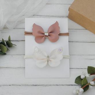 Набор детских повязок для малышки с бабочками в подарок