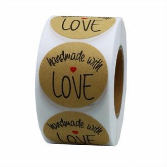 """01501 Етикетка KRAFT """"Hand made with LOVE"""" 25 мм. (100 шт.)"""