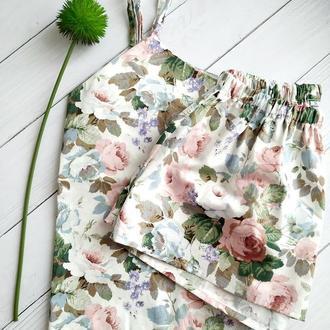 Женская хлопковая пижама в цветы