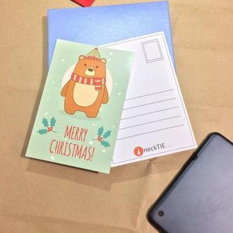 Новогодняя открытка с мишкой
