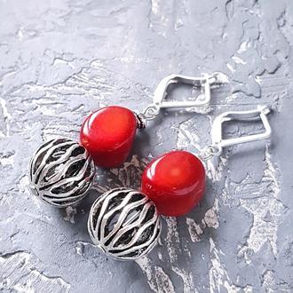 """Сережки з натуральними коралами та срібними застібками """"Горішки"""" серьги с красными кораллами"""