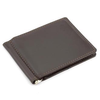Кожаный зажим для денег Crez-41 (коричневый)